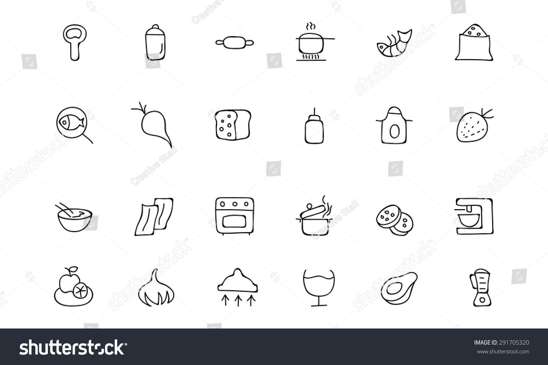 食物手绘轮廓矢量图标8-食品及饮料,符号/标志-海洛()