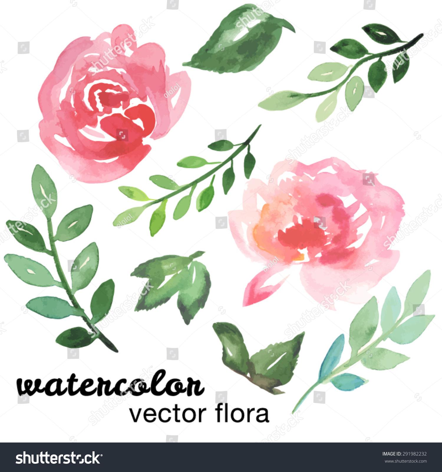 手画水彩花卉.矢量插图