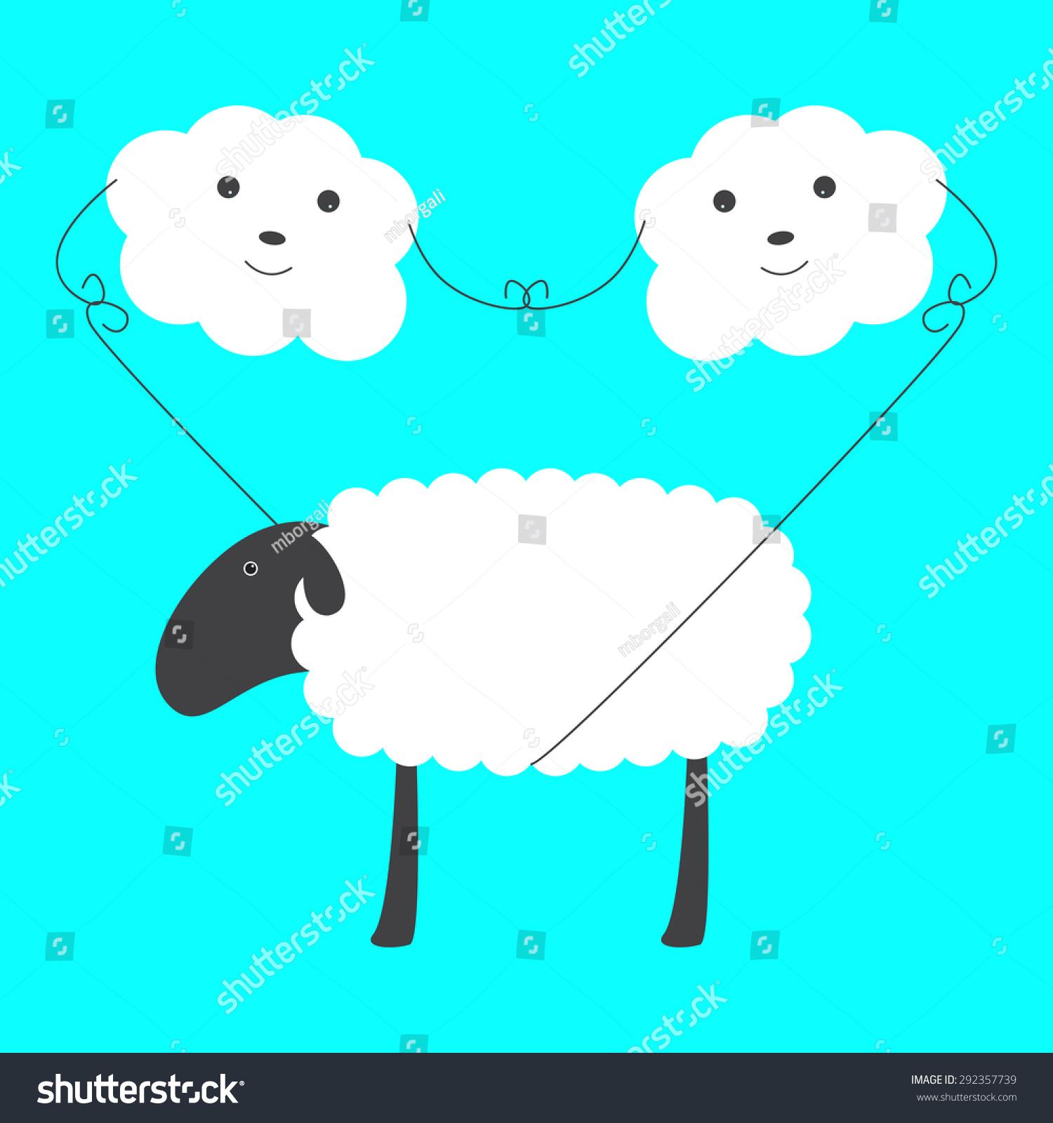 两个可爱的云的眼睛,鼻子,微笑着大羊在蓝天的绳子.