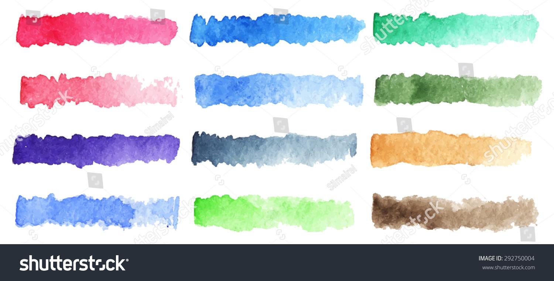 水彩画条纹刷彩色彩虹面板背景-背景/素材,艺术-海洛