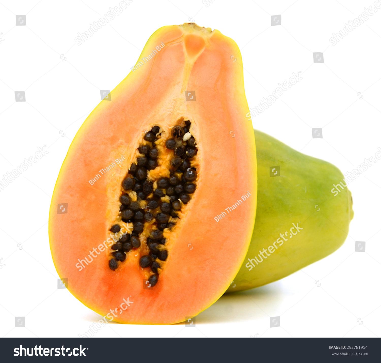 木瓜水果在白色背景-背景/素材