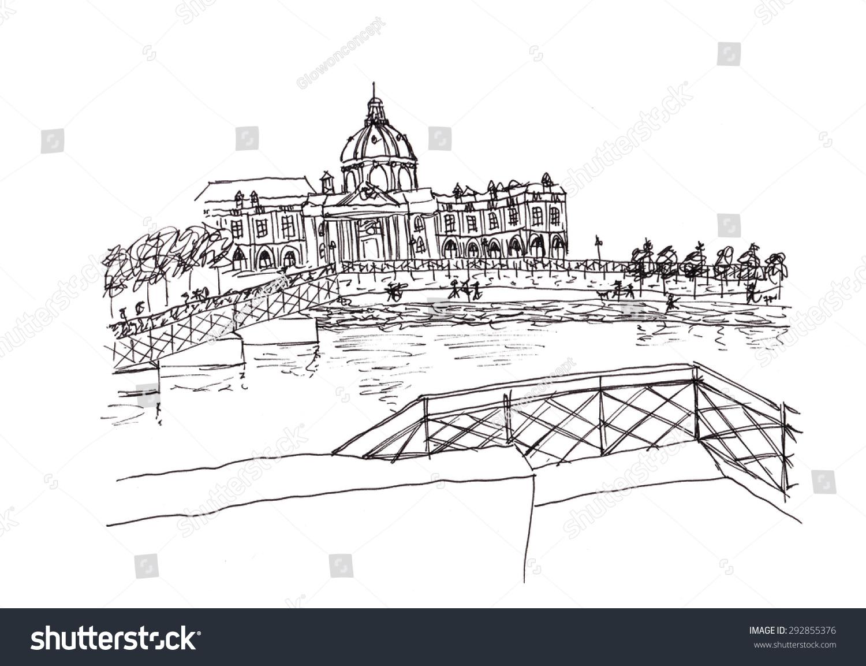 从塞纳河法国手绘插图-建筑物/地标,艺术-海洛创意()