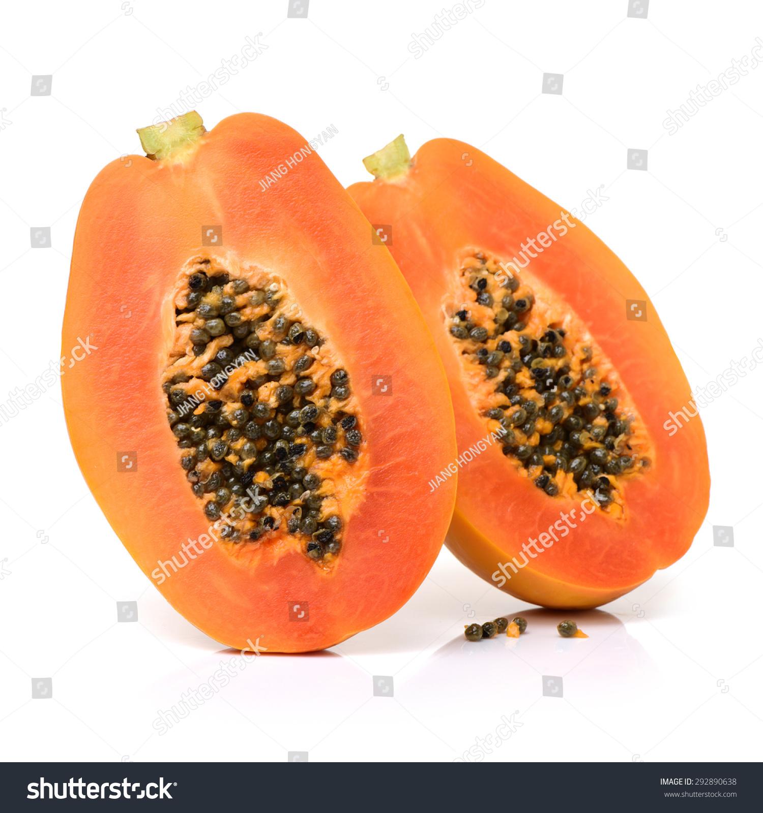 一种白色背景的木瓜果实-食品及饮料-海洛创意()