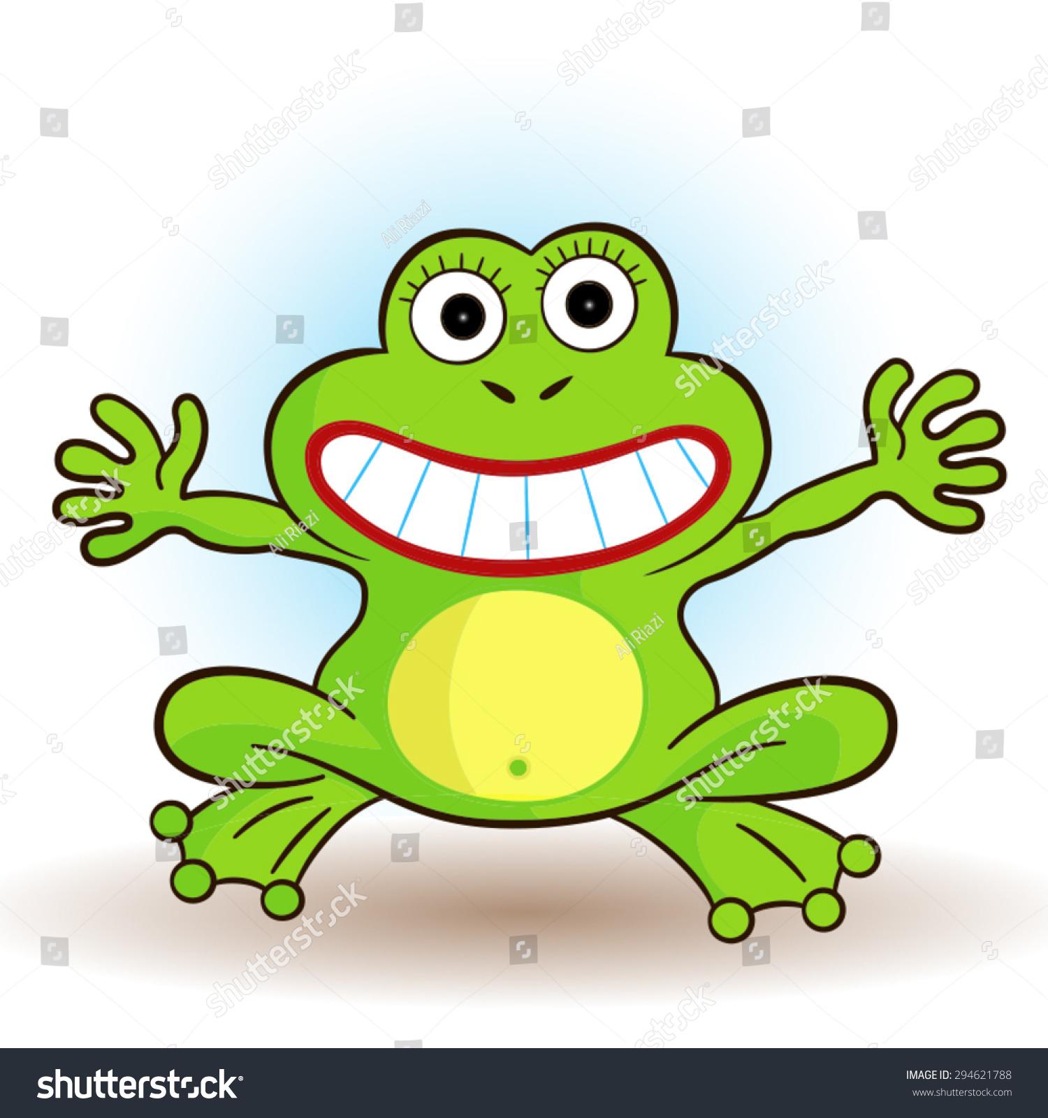 一只可爱的小青蛙的矢量插图.-动物/野生生物
