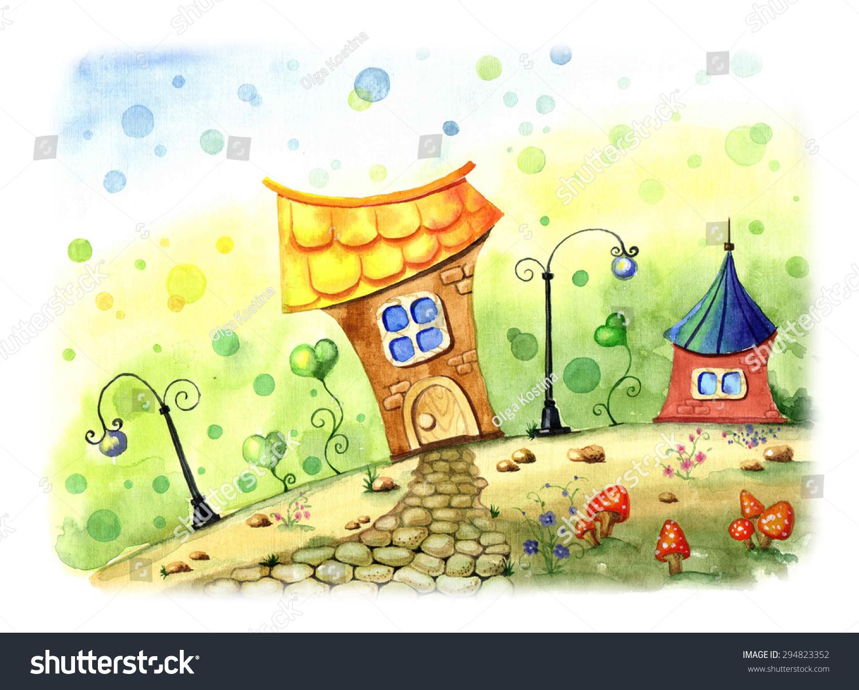 手绘水彩风景.童话插图