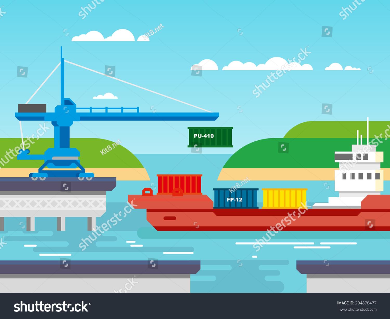 运输和集装箱,工业和物流平面向量
