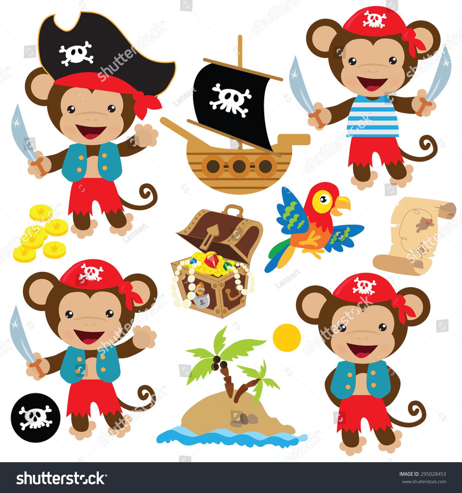 可爱的海盗猴子矢量插图-动物/野生生物-海洛创意()