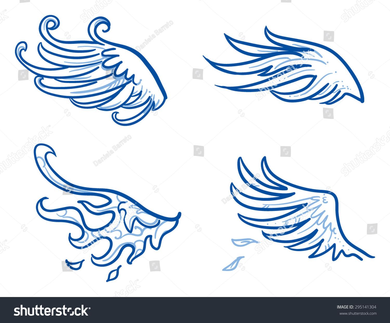 鸟类或天使翅膀,羽毛,翅膀.手绘涂鸦矢量插图.-动物