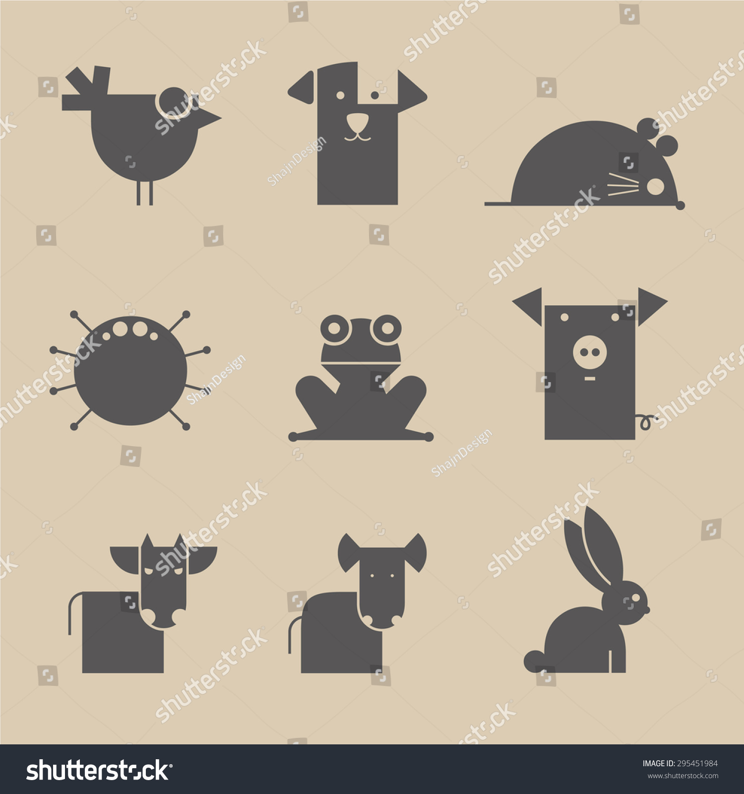 -简单向量几何元素组成的动物.孤立的背景