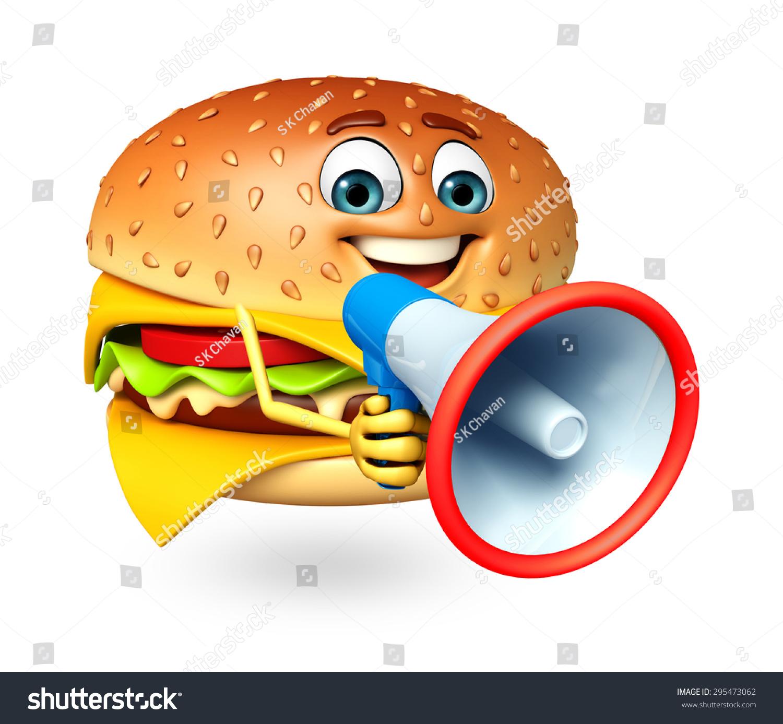 汉堡卡通人物的三维渲染图-食品及饮料,编辑-海洛创意