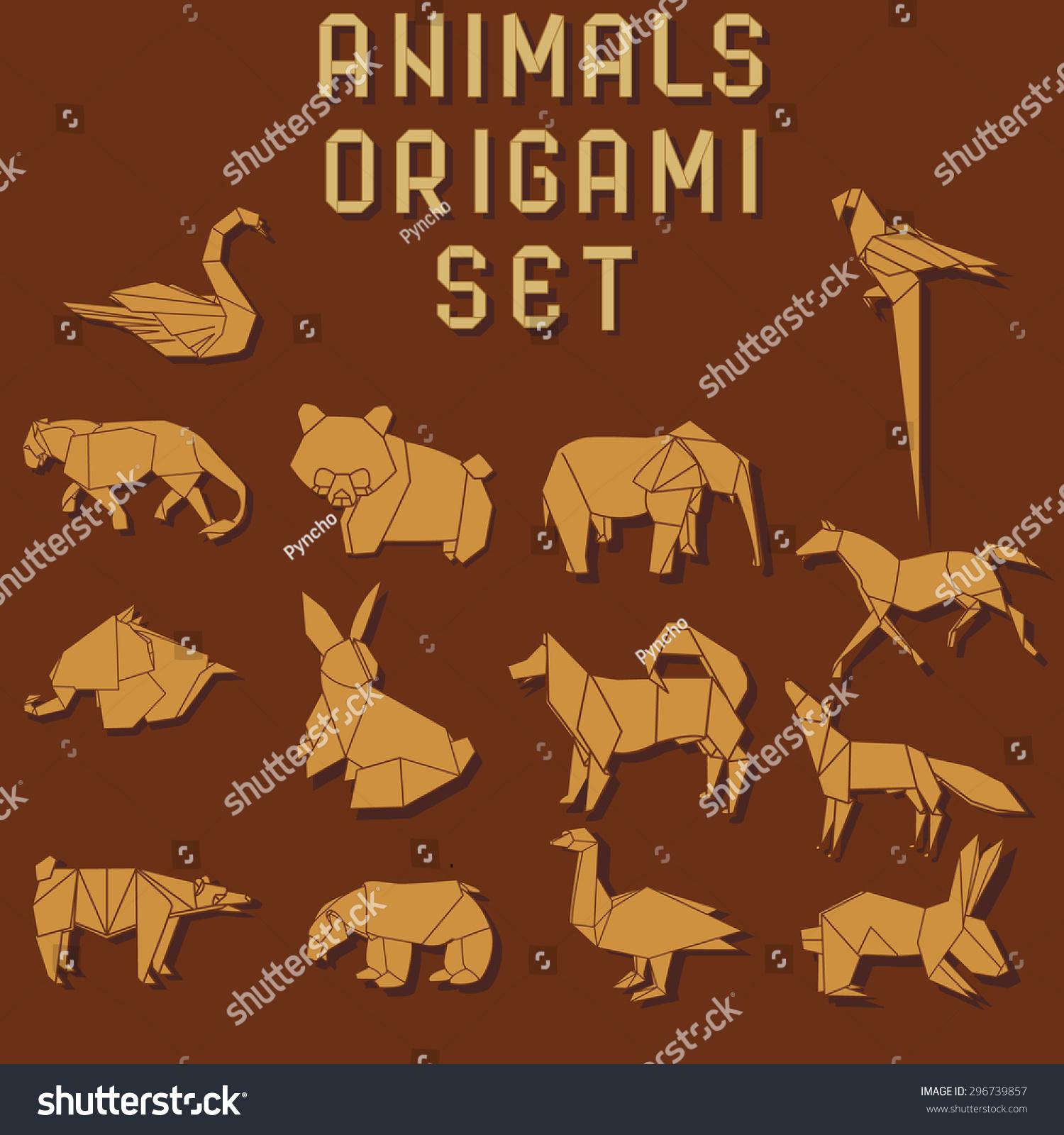 橙色的折纸动物在暗红色的背景-动物/野生生物