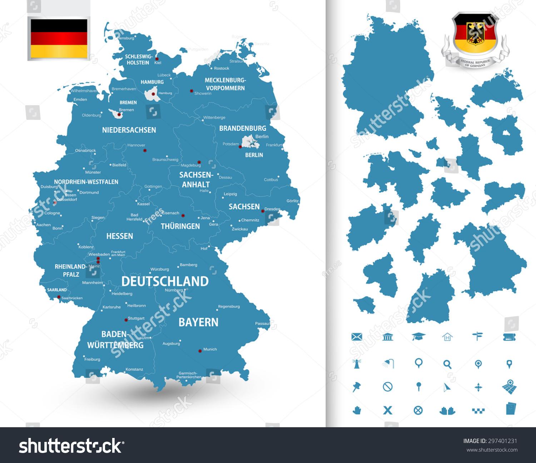 德国联邦州的地图/德国高度详细的地图与行政区划(州)