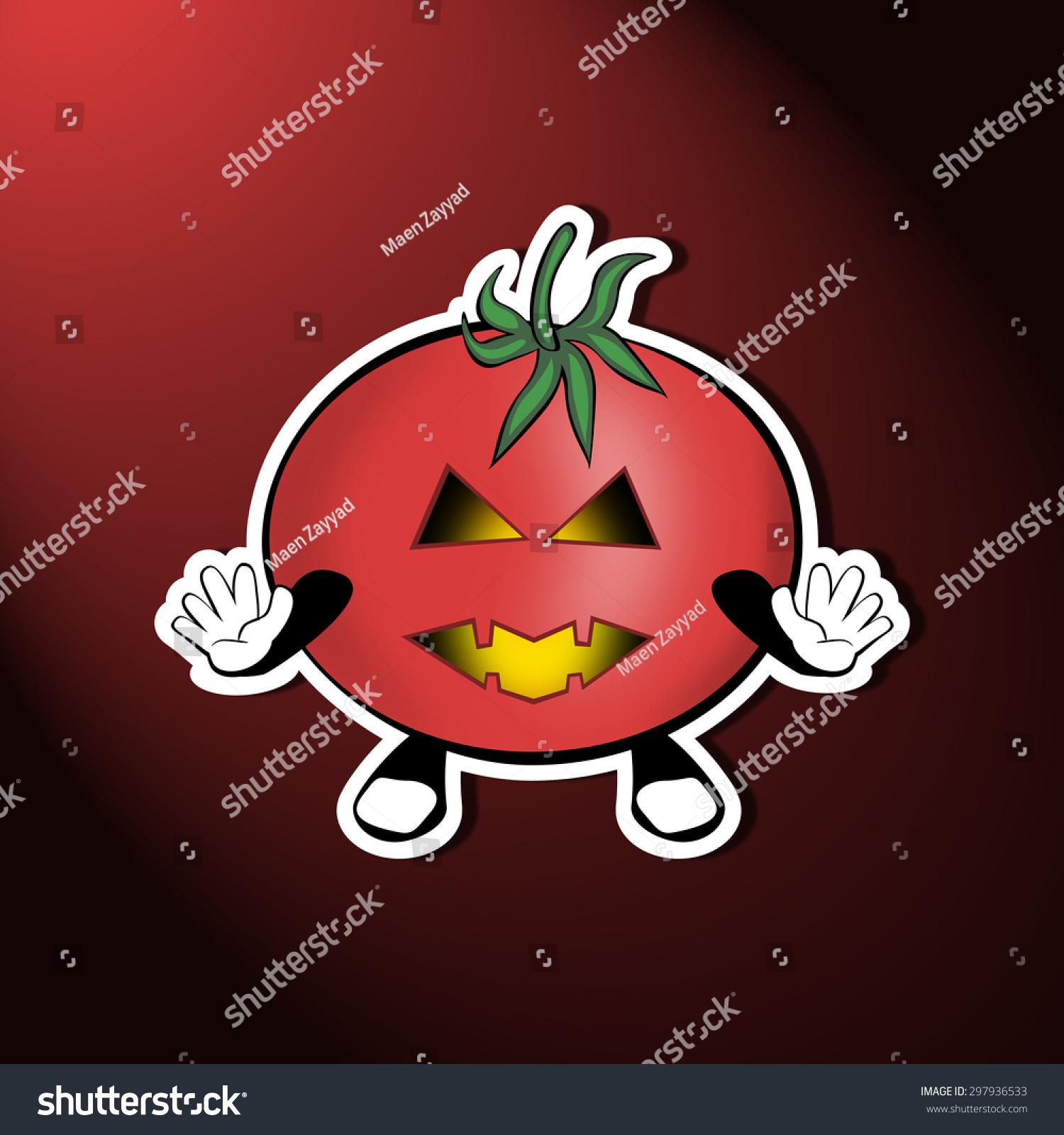 可怕的有趣的万圣节番茄-背景/素材,假期-海洛创意()