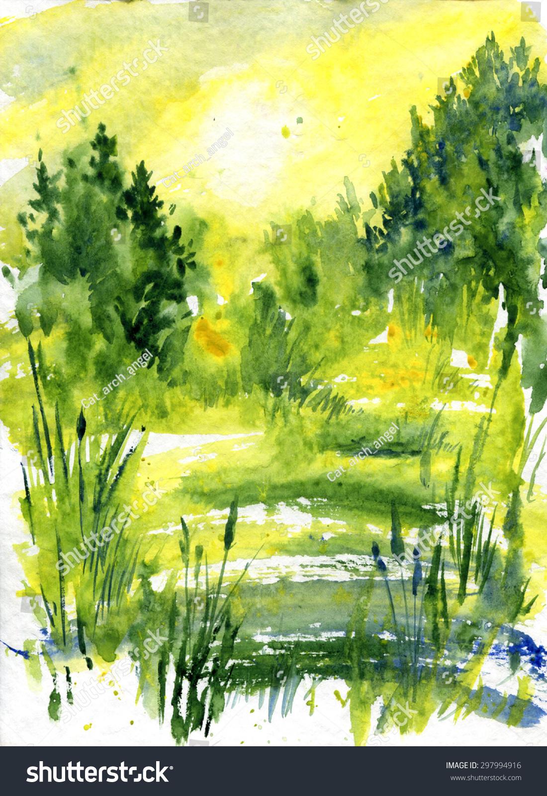 抽象的水彩风景在森林与日出