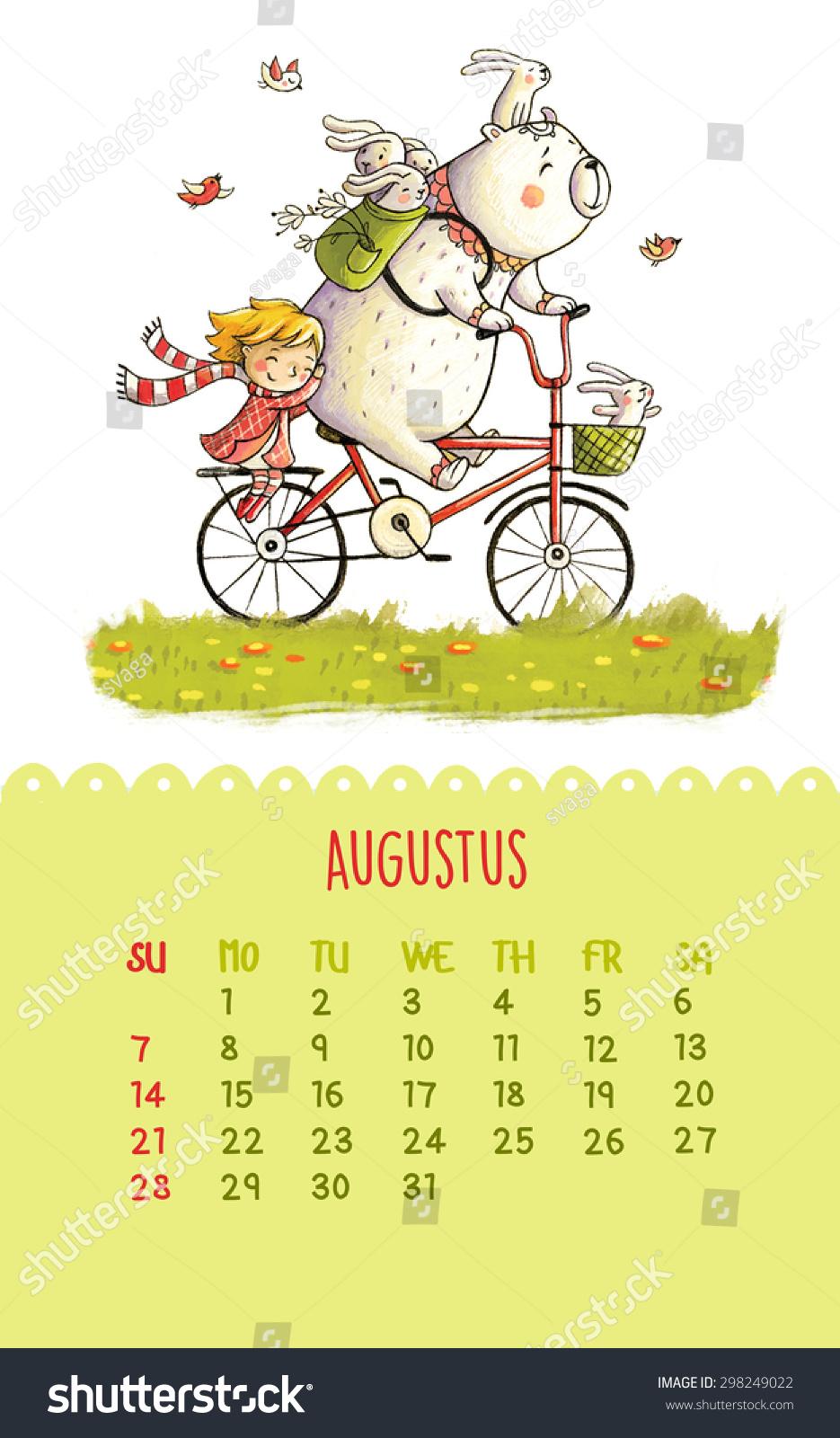 可爱的2016年日历与手绘插图.8月.卡通熊和女孩骑