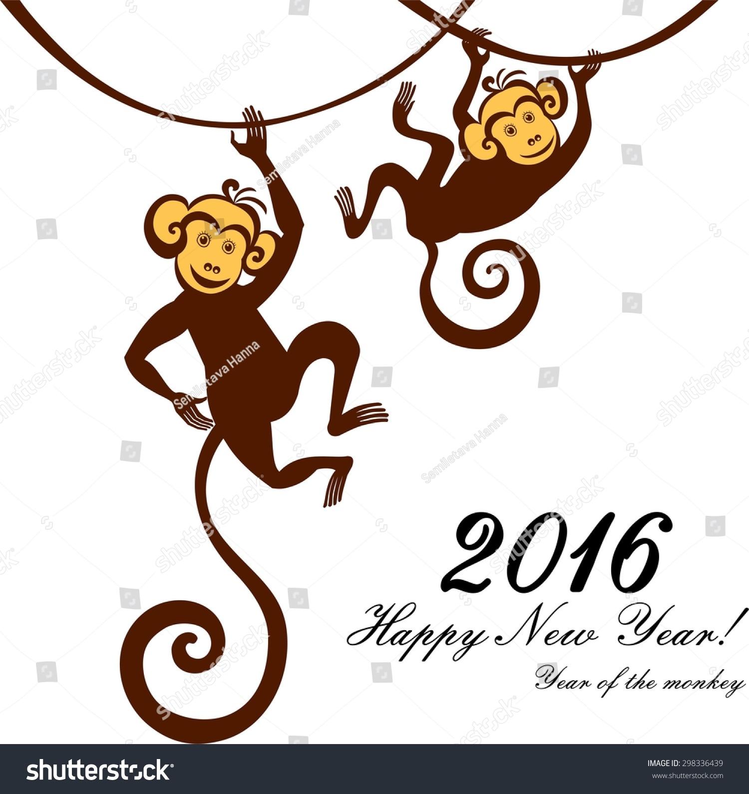 2016年新年快乐.年的猴子.插图-动物/野生生物,假期