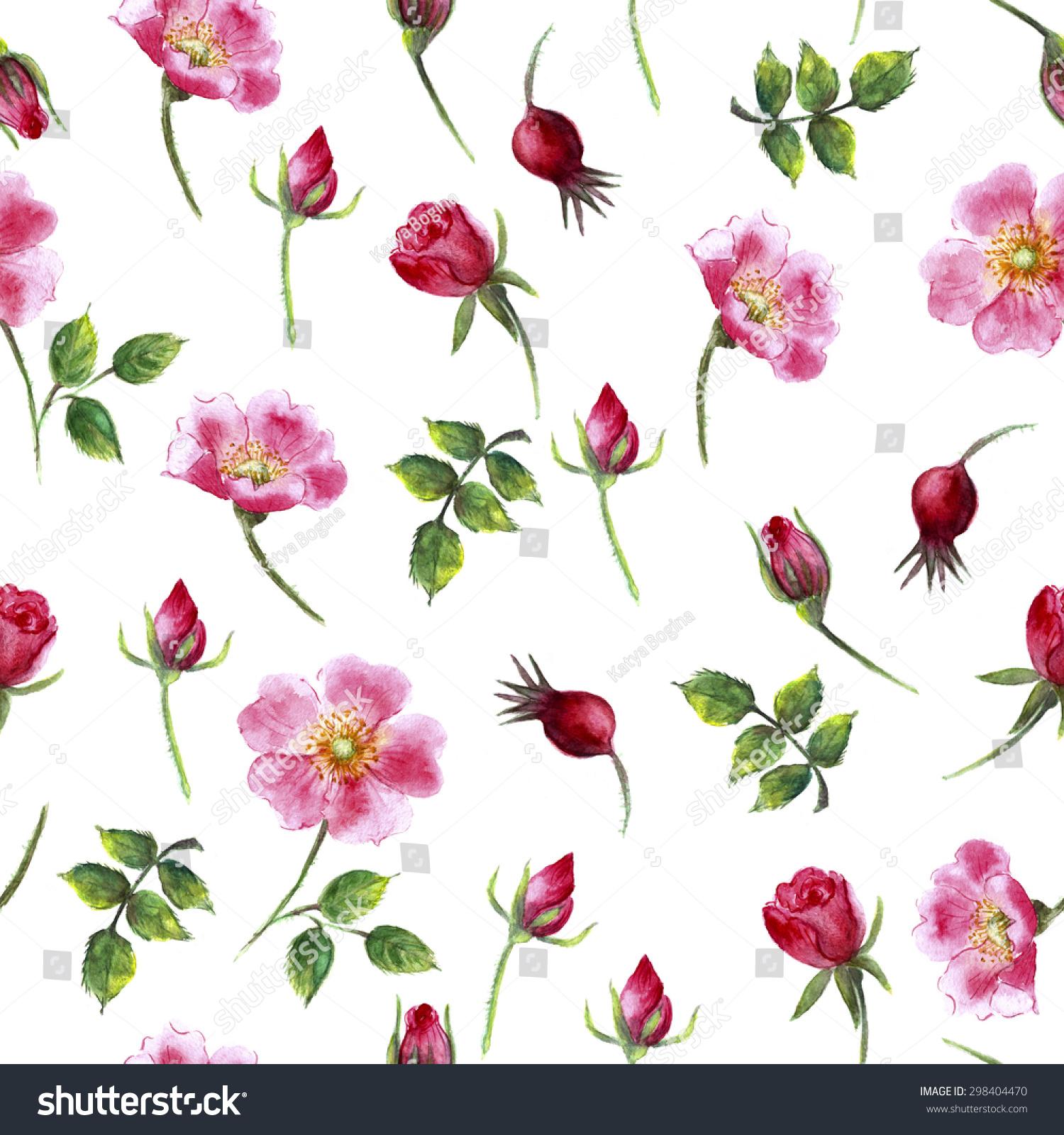 水彩花卉无缝模式在白色背景上鲜艳的颜色