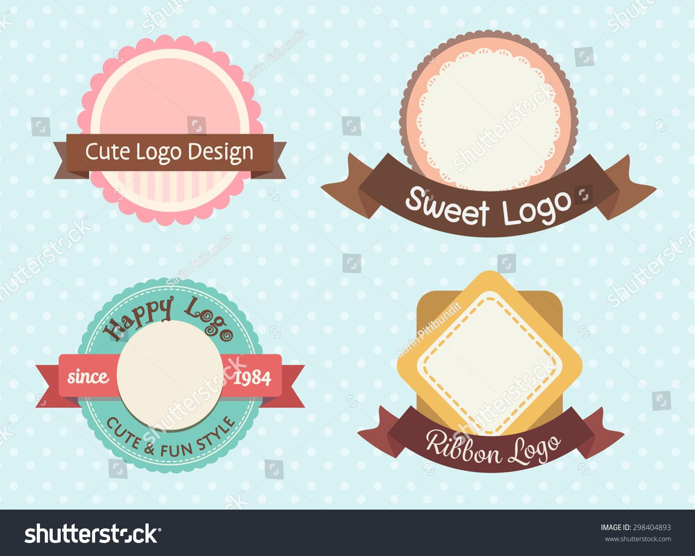 可爱甜美柔和的老式保险标志或标签模板设置-背景