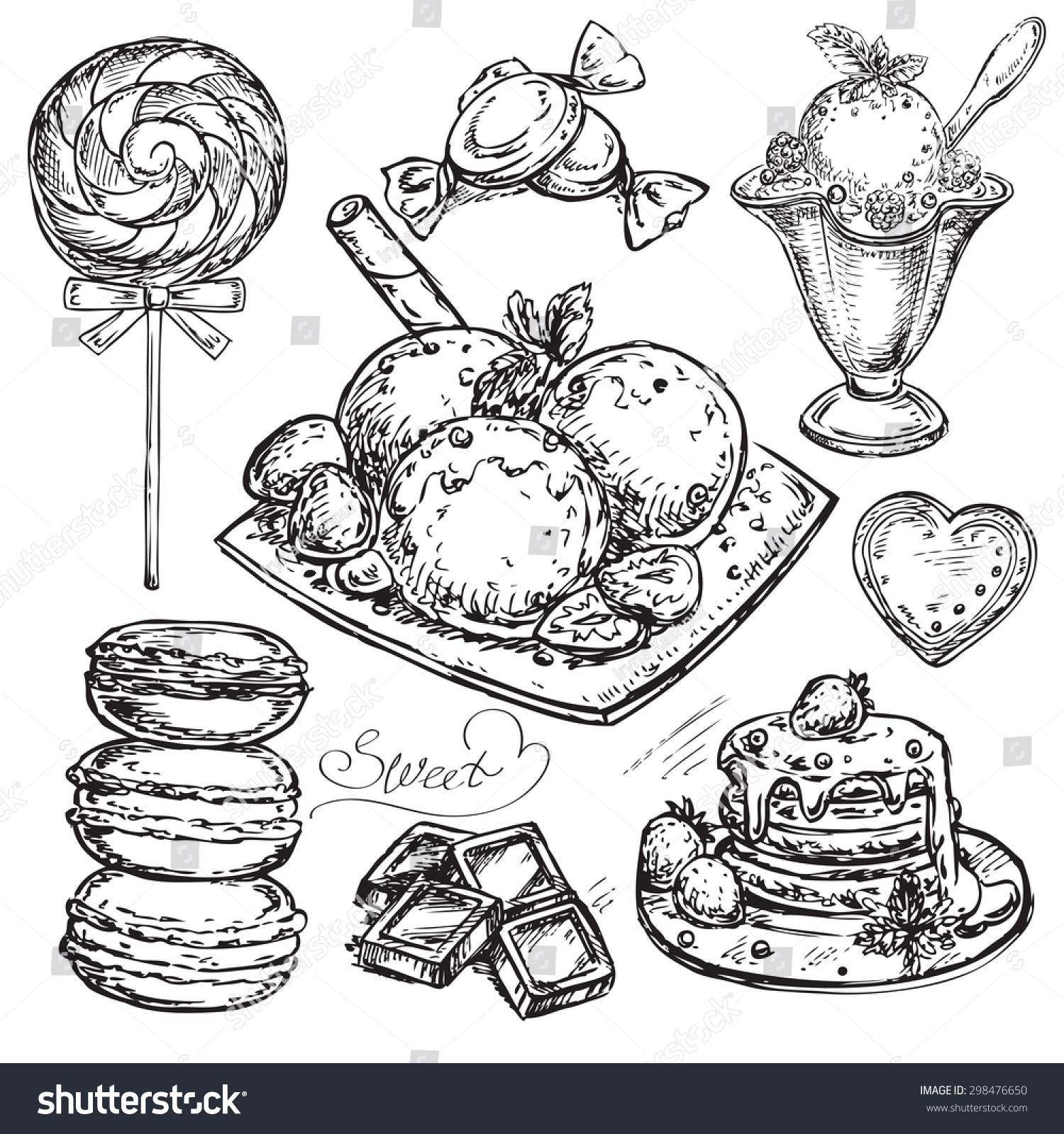 """矢量插图设计的""""手绘甜""""-食品及饮料-海洛创意()"""