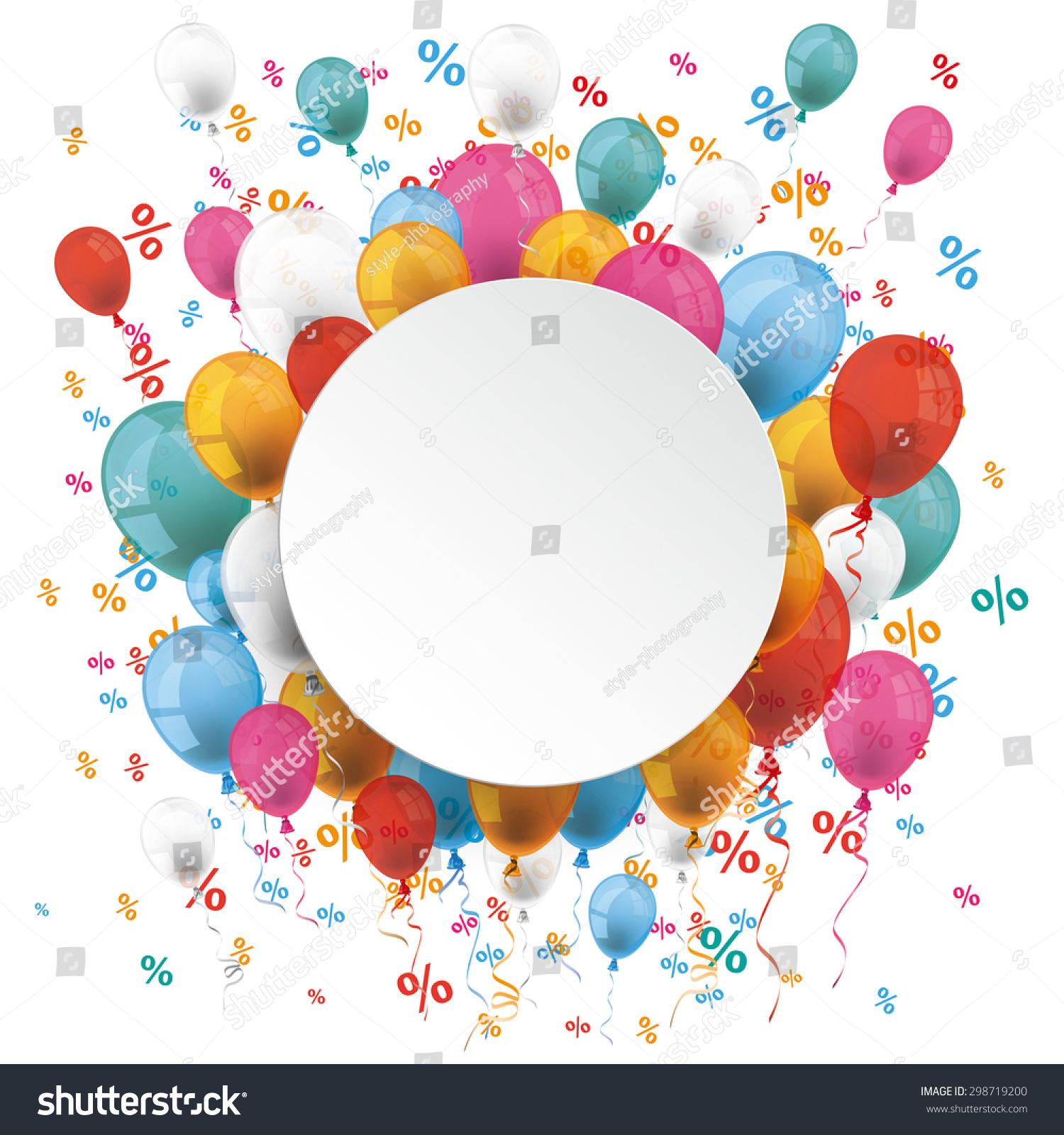 白皮书圆白色彩色气球和百分比.每股收益10矢量文件.图片