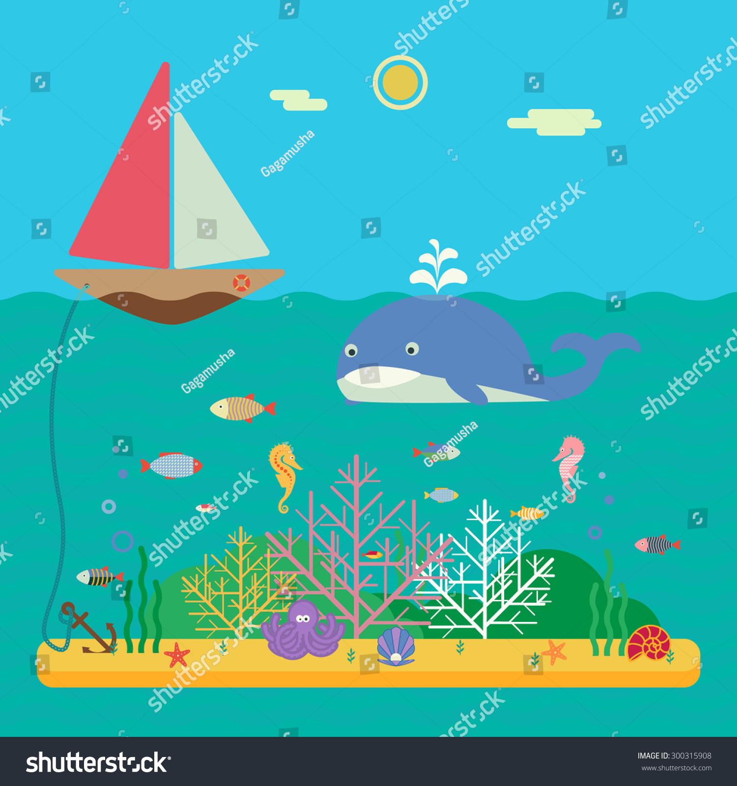 景观的海洋生物——帆船在海洋和海底世界有不同的.平图片