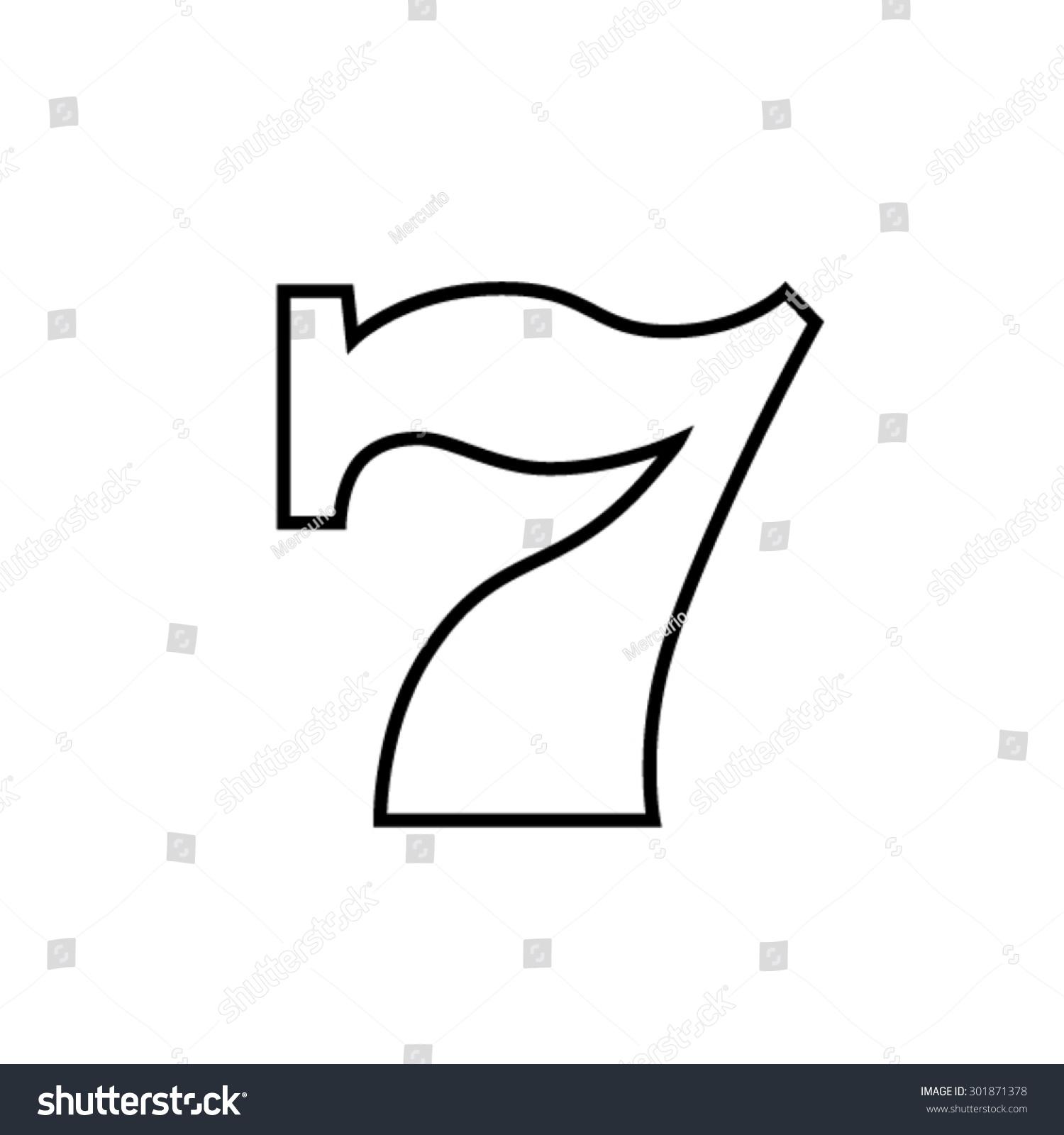 老虎机七黑白图标矢量图