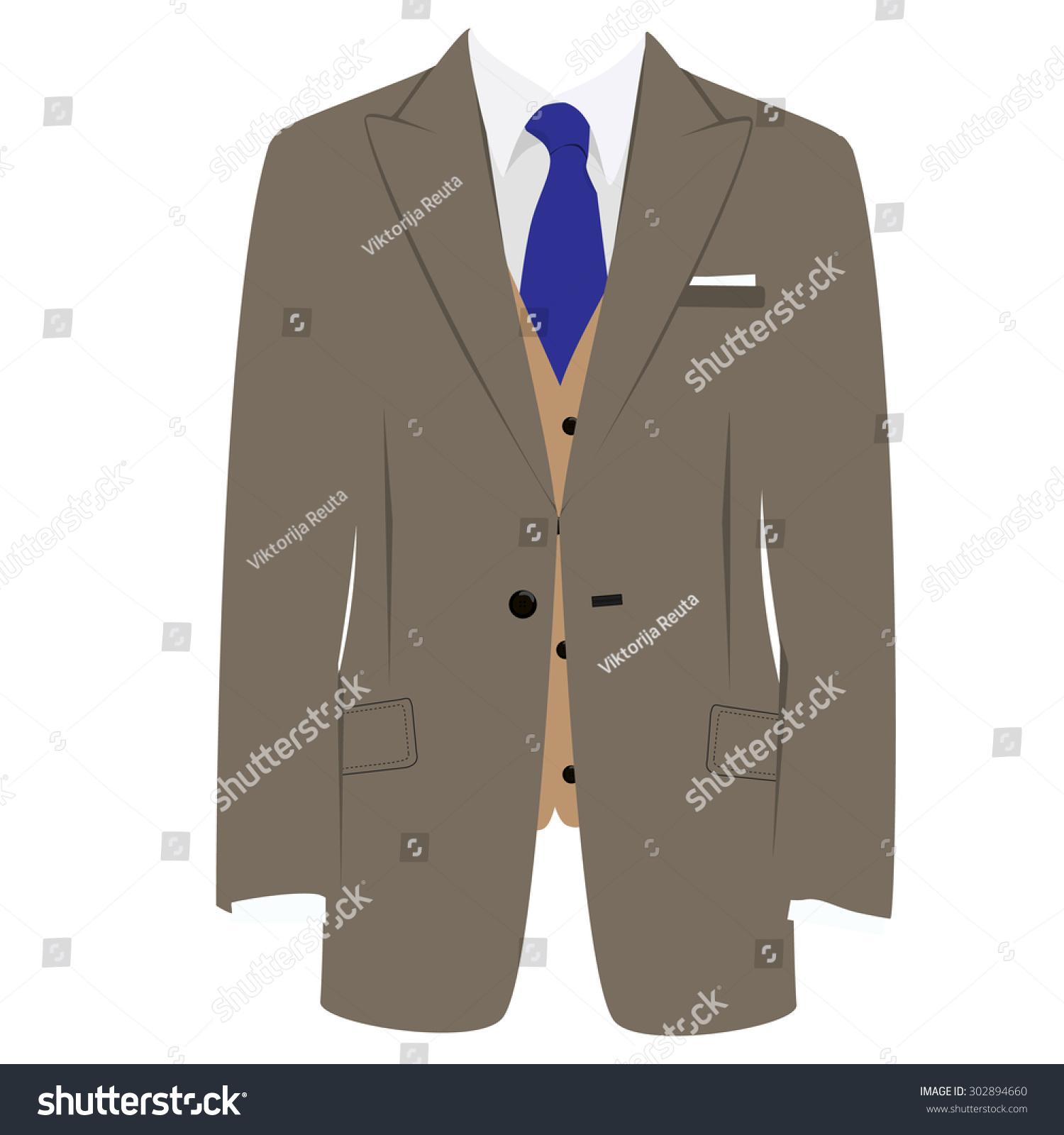 矢量插图的棕色男人西装与蓝色领带和白衬衫在灰色