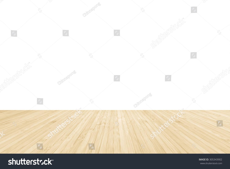 孤立的竹子木地板纹理自然黄色奶油棕色色调白墙上