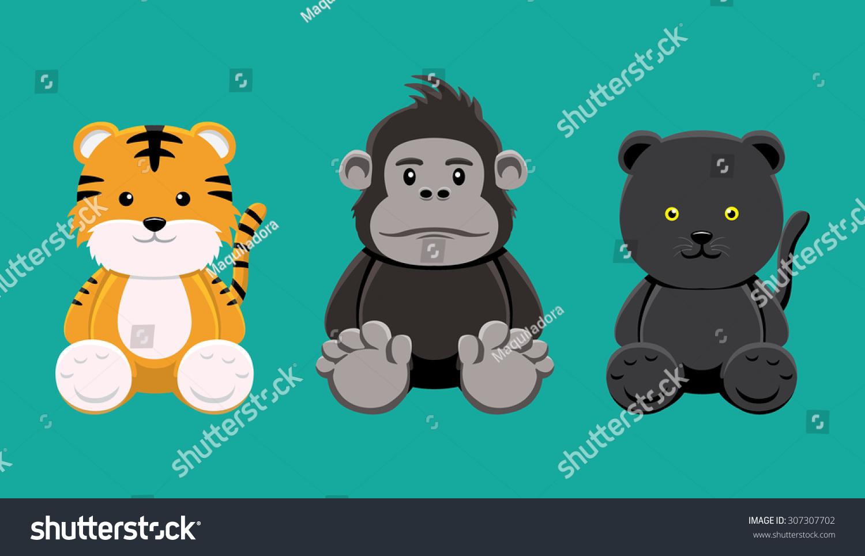 老虎大猩猩豹娃娃卡通矢量插图-动物/野生生物,物体