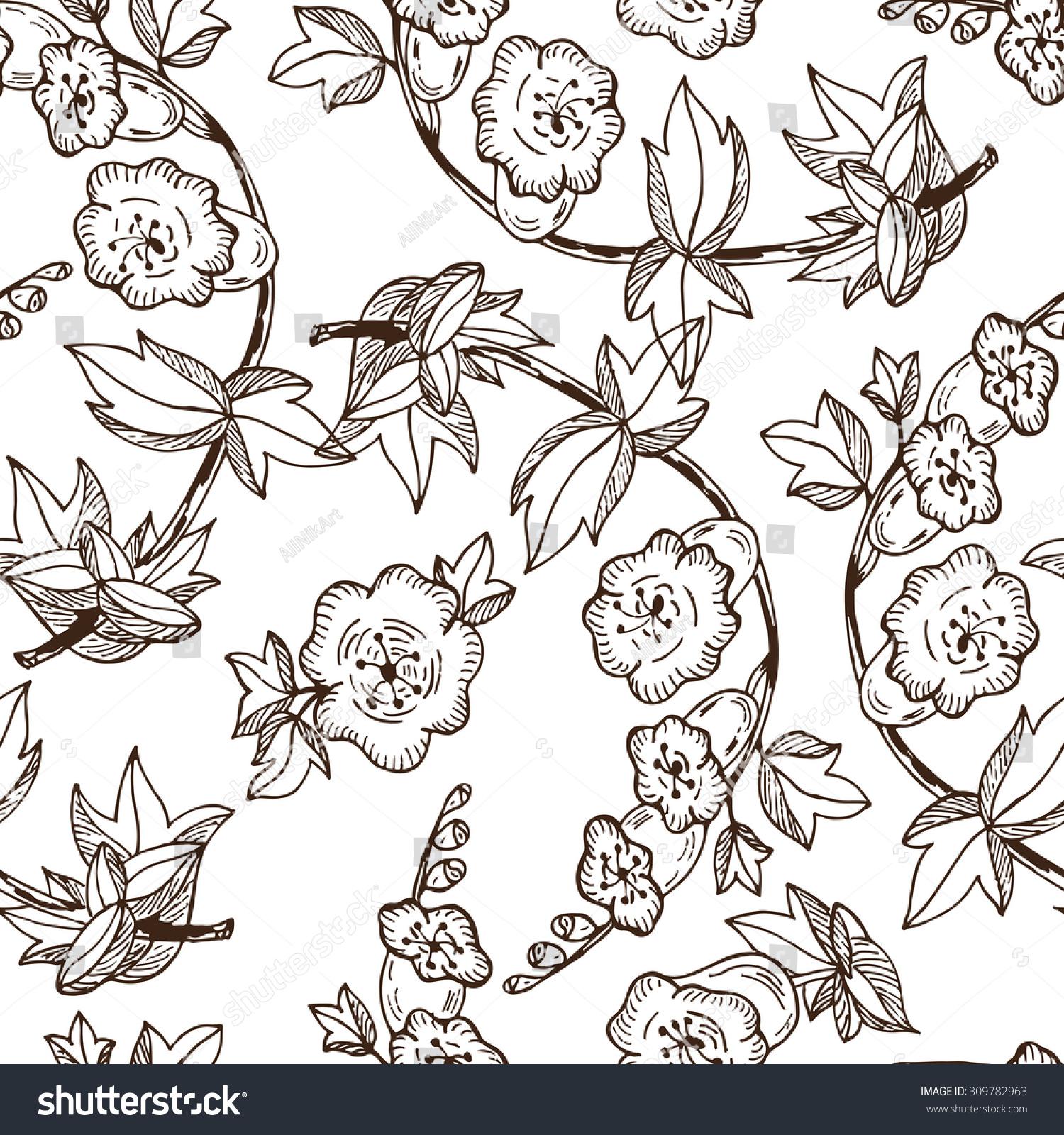手绘涂鸦的花.向量无缝的花卉图案.-背景/素材