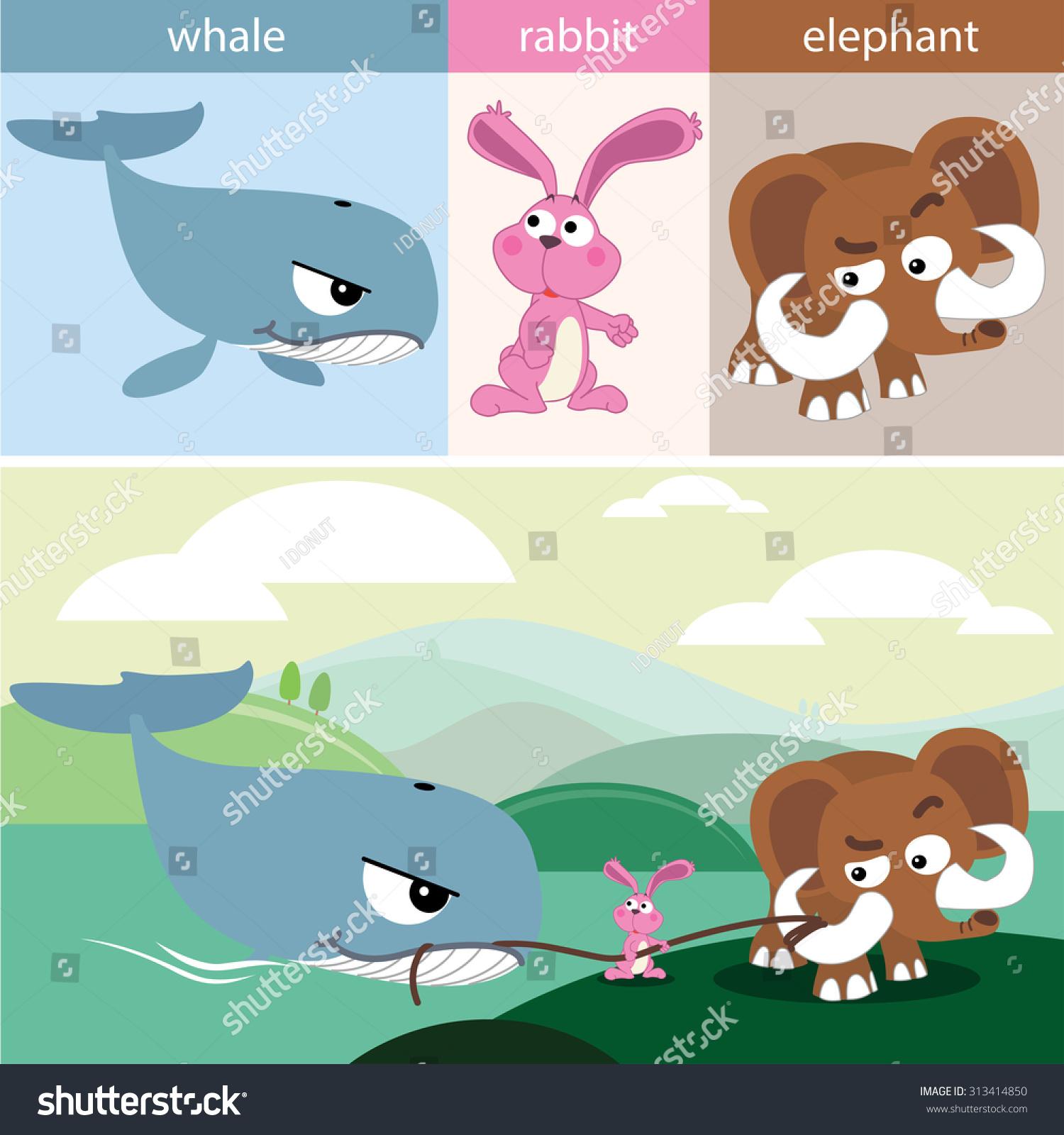 可爱的动物集合鲸鱼兔子大象
