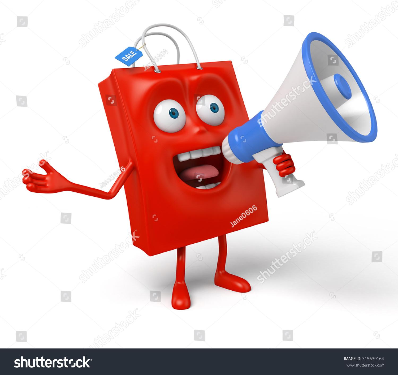 带喇叭的红色购物袋-背景/素材,商业/金融-海洛创意()