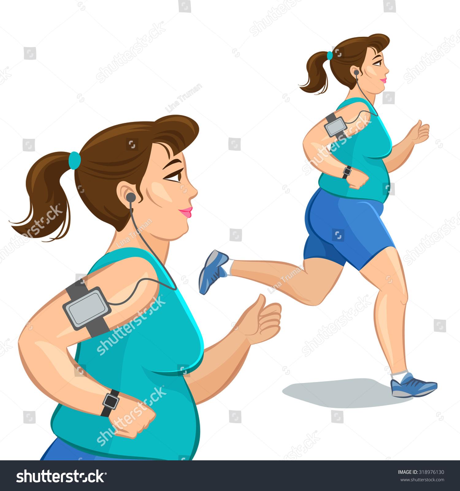 插图漫画胖女孩慢跑的智能设备,减肥概念,有氧训练,的