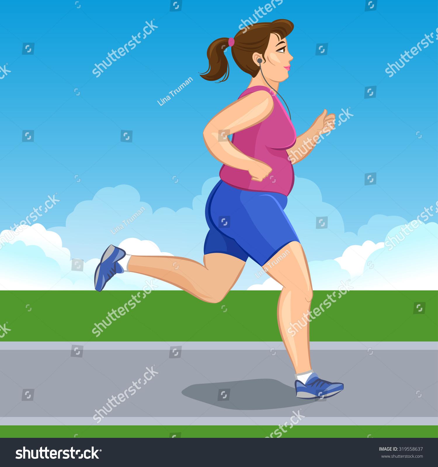 插图漫画的胖女孩慢跑,减肥概念,有氧训练,健康意识概念跑步的女人。 - 人物,运动/娱乐活动 - 站酷海洛创意正版图片,视频,音乐素材交易平台 - Shutterstock中国独家合作伙伴 - 站酷旗下品牌