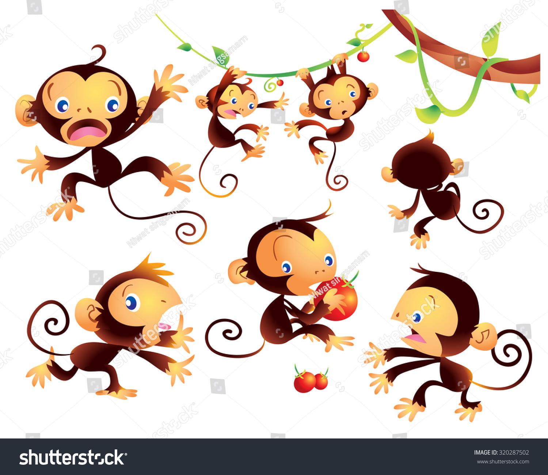 可爱顽皮的猴子卡通许多操作-动物/野生生物