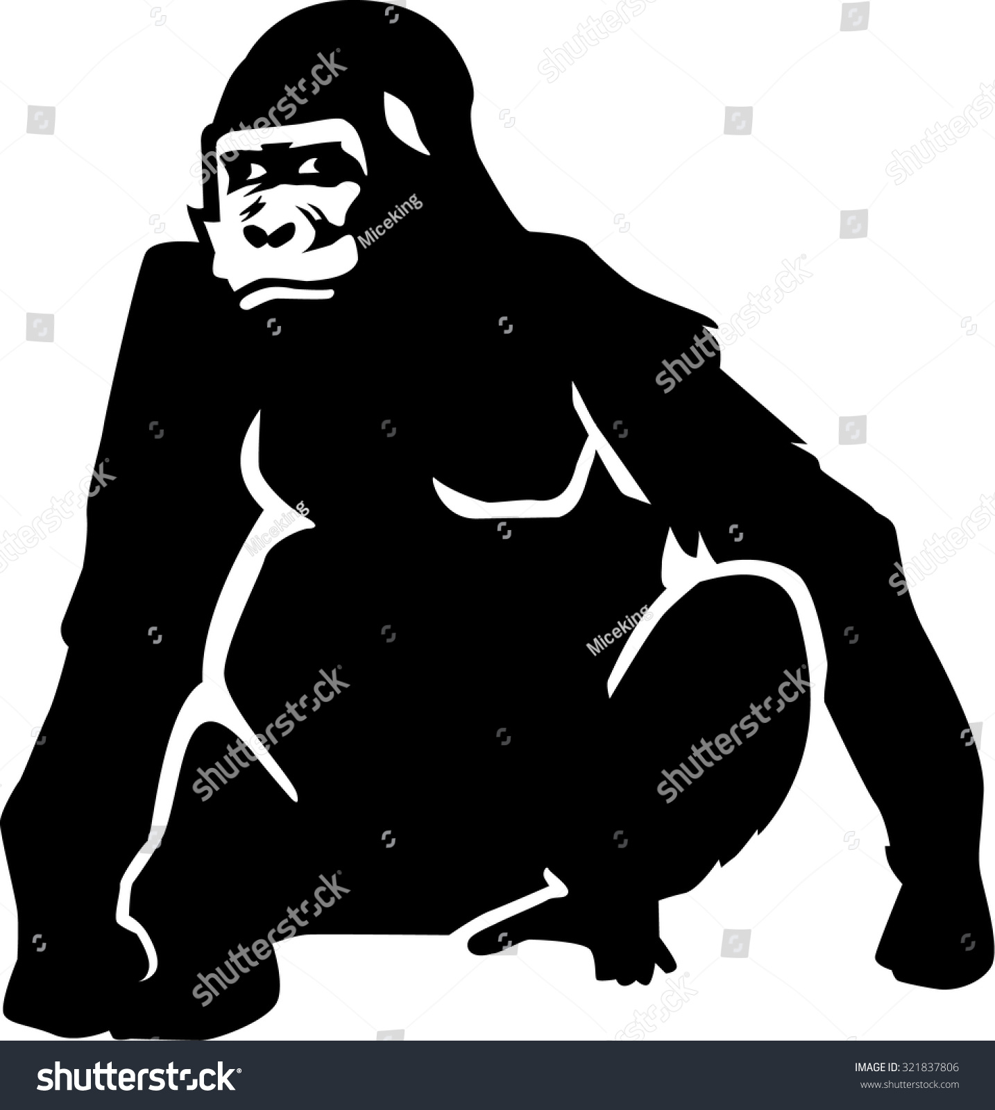 大猩猩剪影坐-动物/野生生物-海洛创意(hellorf)-中国
