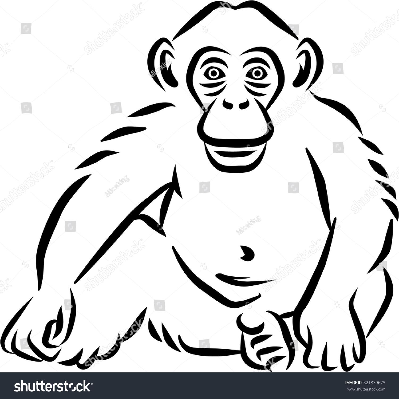 坐在婴儿黑猩猩手画-动物/野生生物-海洛创意