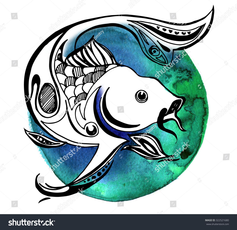 鱼在水彩圆,在孤立的背景图形鲤鱼跃出-动物/野生生物