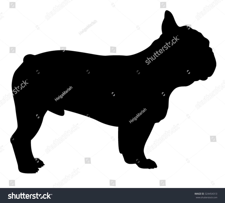 法国斗牛犬纯种狗站在侧面,矢量剪影孤立-动物/野生