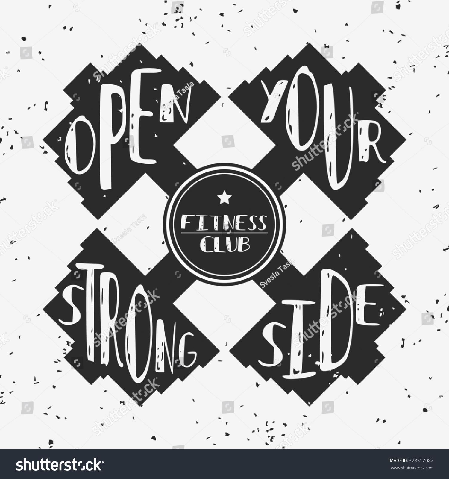 抽象的手绘海报排版和哑铃.打开你的强大的一面.