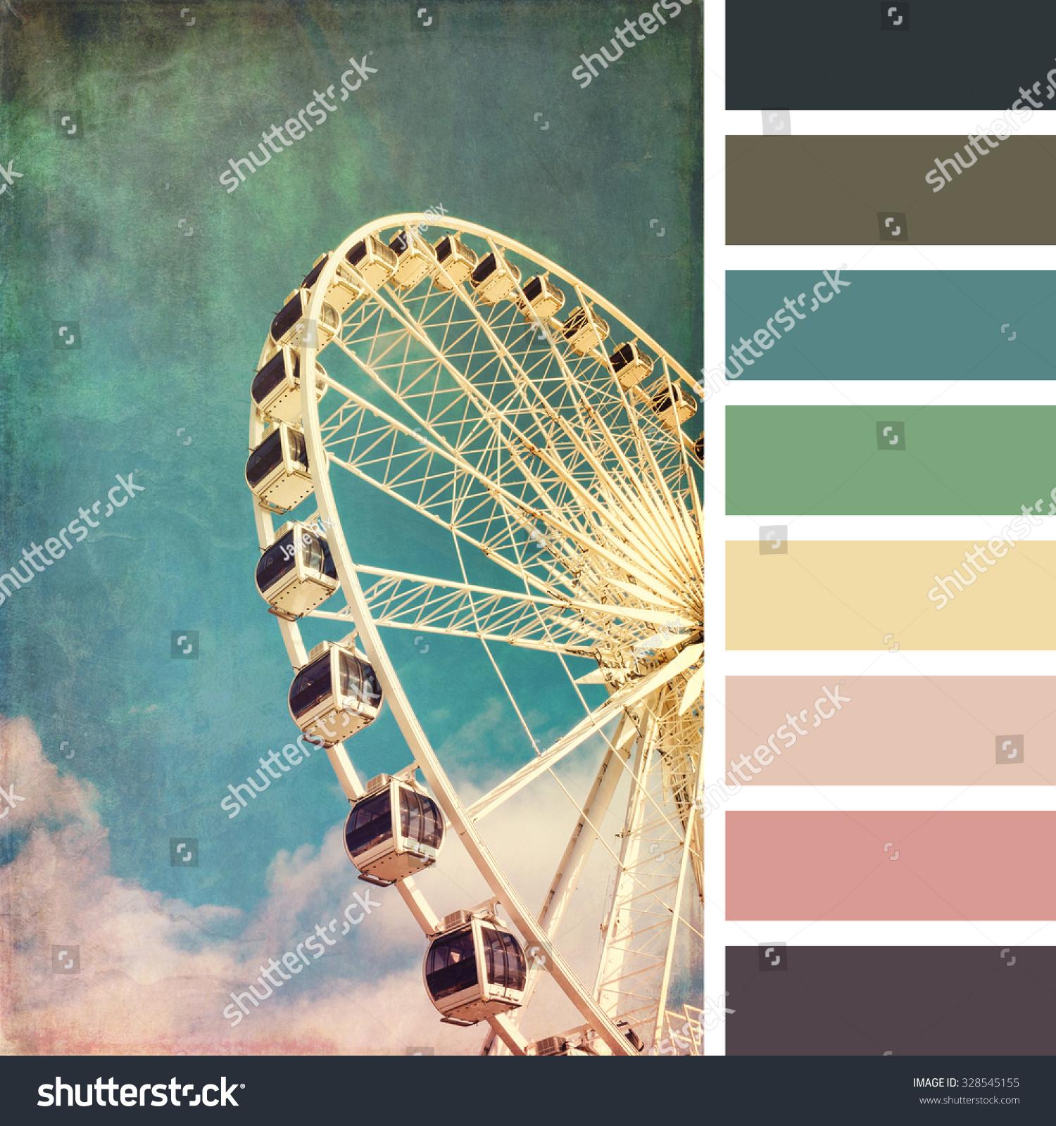 摩天轮,复古风格,免费颜色色板的颜色