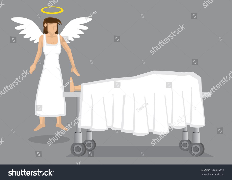 女性天使在白色的翅膀和光环的尸体在临终覆盖表。卡通矢量图死后经验孤立在简单的背景。 - 人物,宗教 - 站酷海洛创意正版图片,视频,音乐素材交易平台 - Shutterstock中国独家合作伙伴 - 站酷旗下品牌