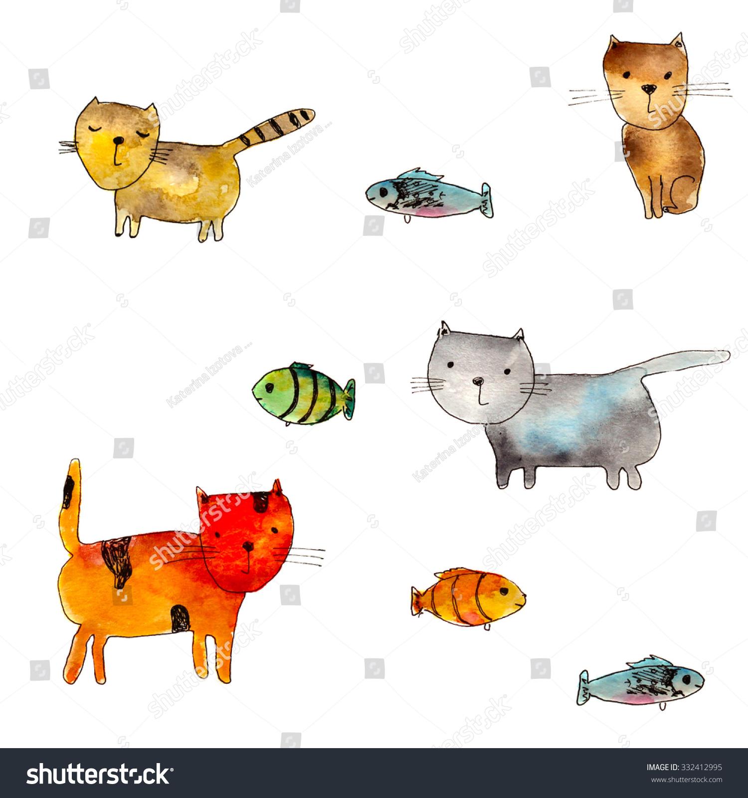 可爱的猫和鱼,手绘水彩插图-动物/野生生物-海洛创意