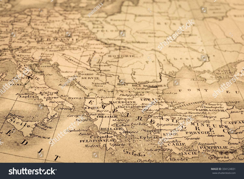 古董的世界地图,地中海沿海地区-复古风格-海洛创意()