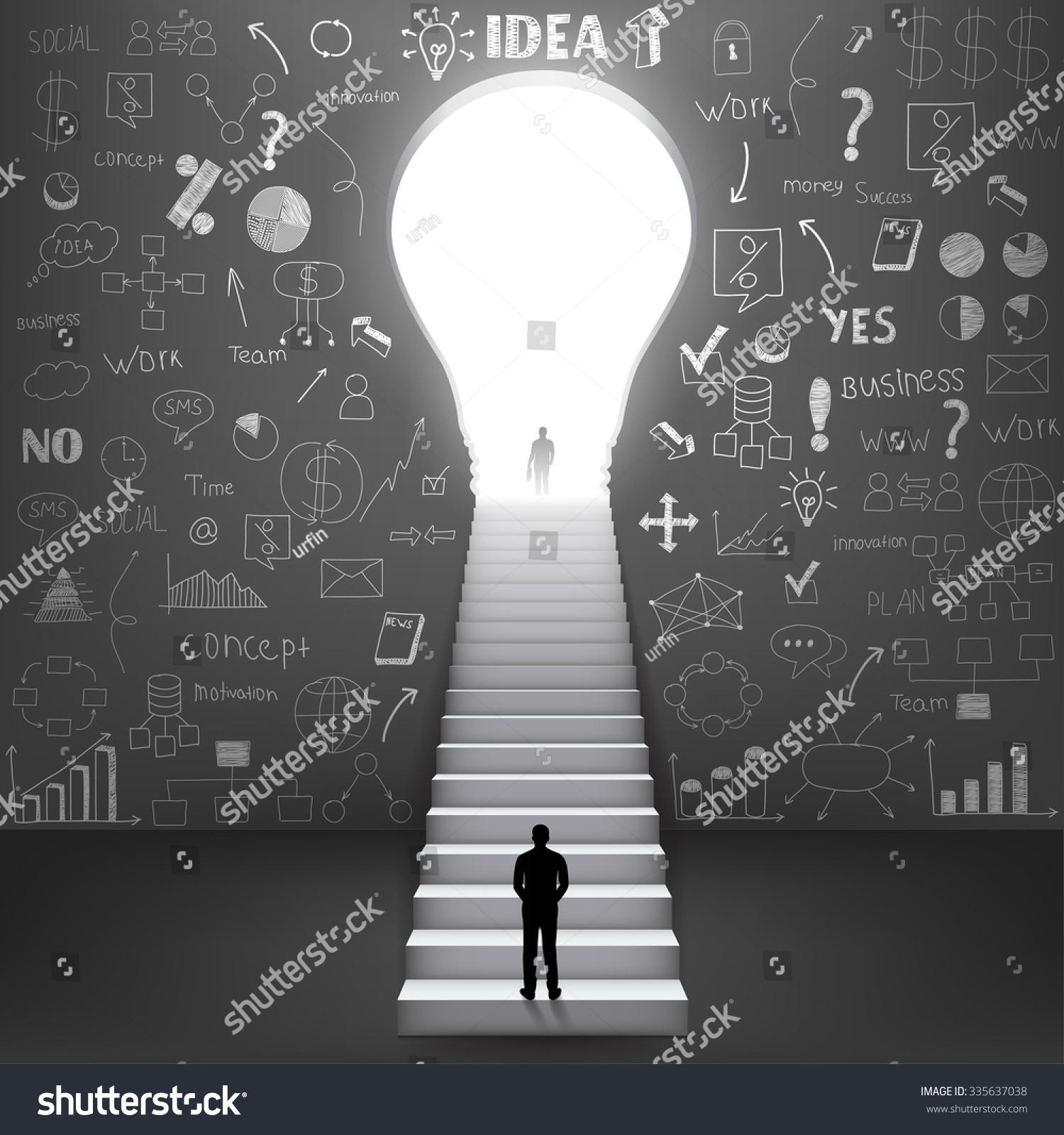 轮廓商人爬上楼梯.矢量图-抽象-海洛创意(hellorf)
