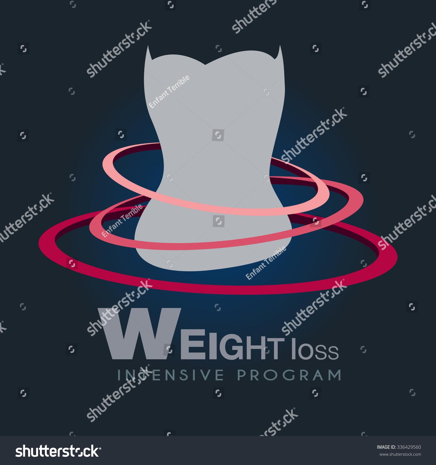 女性与象征性的动态轮廓环形状健身和减肥矢量插图.