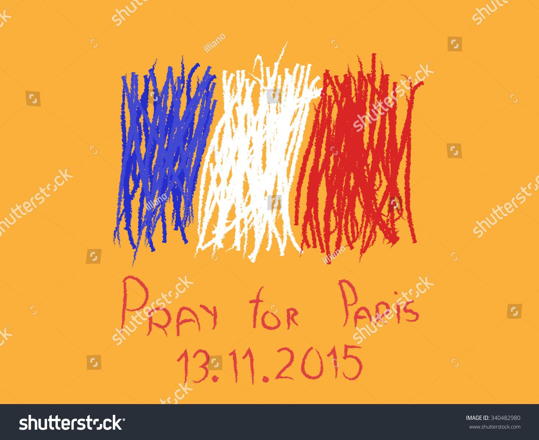 手绘草图说明法国国旗和巴黎祈福