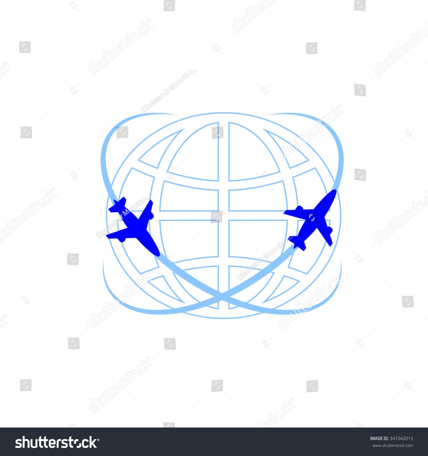 矢量飞机和地球图标.世界各地的图标.-交通运输,符号