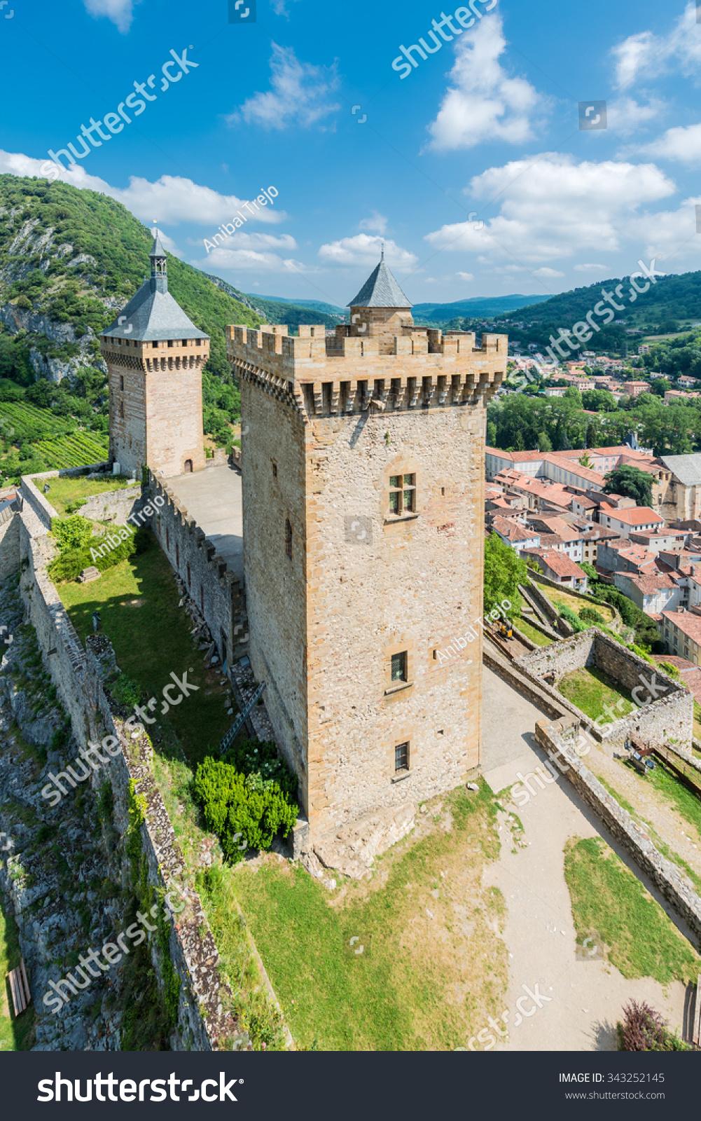 de foix castle overlooks this town of ariege in midi pyrenees
