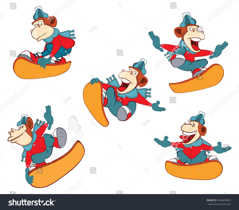 一个可爱的猴子滑雪.卡通人物